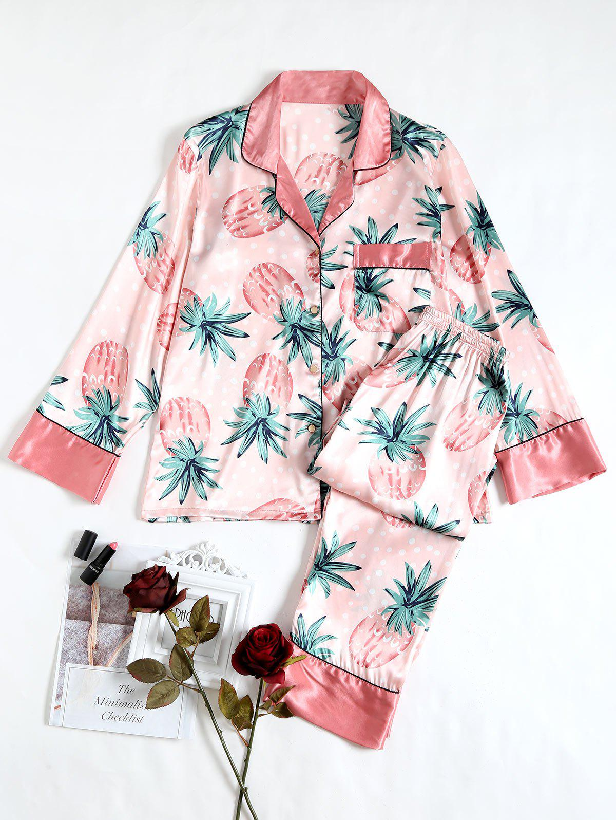 Fruits Printed Satin Sleep Suit - PINK L