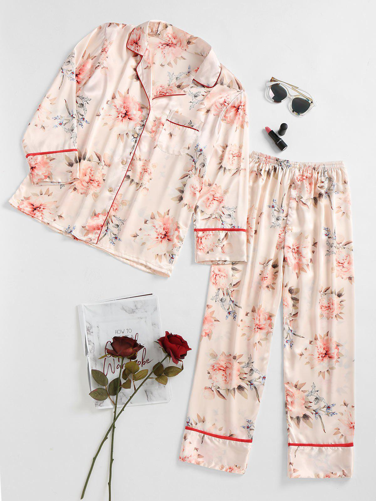 Two Piece Satin Print Pajamas Set cami satin two piece summer pajamas