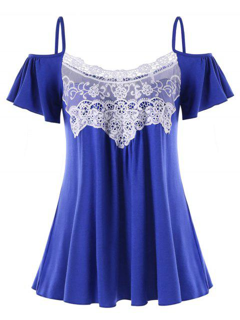 Lace Trim Open Shoulder T-shirt - BLUE XL