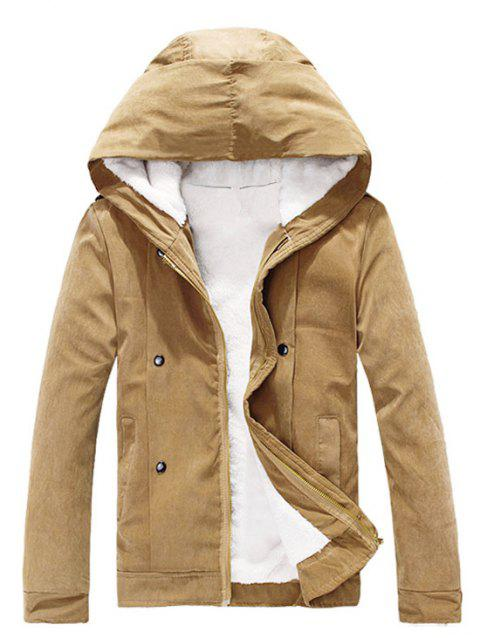Plush Inside Snap Button Zip Up Men's Hooded Coat - CAMEL L