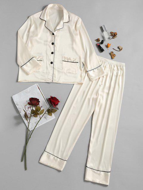 Two Piece Satin Sleepwear Top and Pants - MILK WHITE L