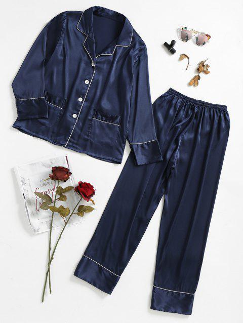 Two Piece Satin Sleepwear Top and Pants - CADETBLUE L