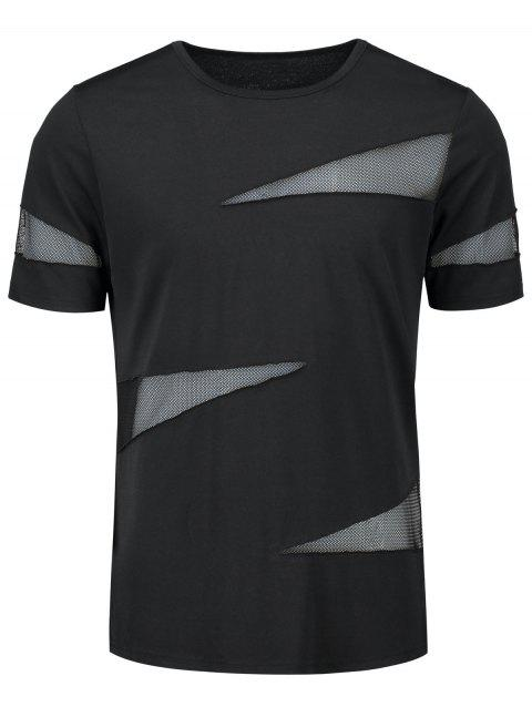 Shredding See Thru Crew Neck T-shirt - BLACK L