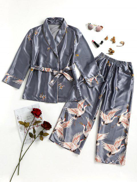 Crane Satin Robe and Sleep Pants - GRAY L