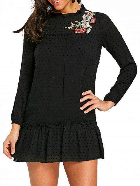 Floral Embroidered Drop Waist Dress - BLACK S