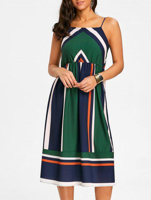Striped Spaghetti Strap Dress - GREEN M