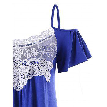 Lace Trim Open Shoulder T-shirt - BLUE 2XL