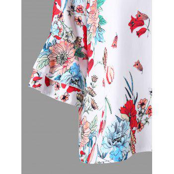 Flare Sleeve Floral Print Blouse - WHITE XL
