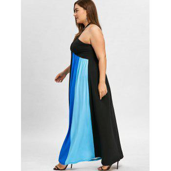 Plus Size Color Block Halter Neck Flowing Dress - BLUE 3XL