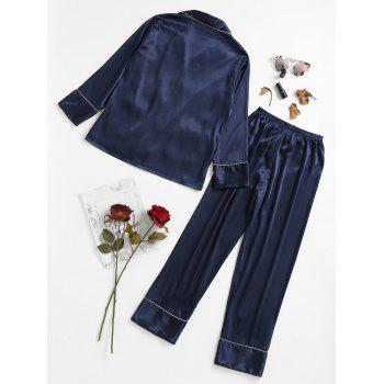 Two Piece Satin Sleepwear Top and Pants - CADETBLUE XL