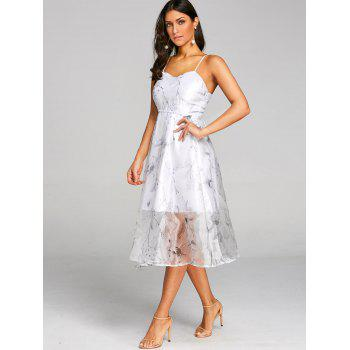 Flower Print Lace Up Tulle Dress - WHITE M