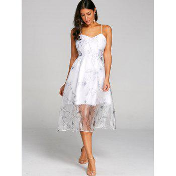 Flower Print Lace Up Tulle Dress - WHITE L