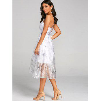 Flower Print Lace Up Tulle Dress - WHITE 2XL