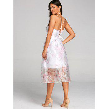 Flower Print Lace Up Tulle Dress - PINK 2XL