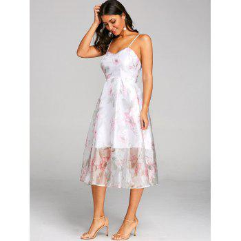 Flower Print Lace Up Tulle Dress - PINK L