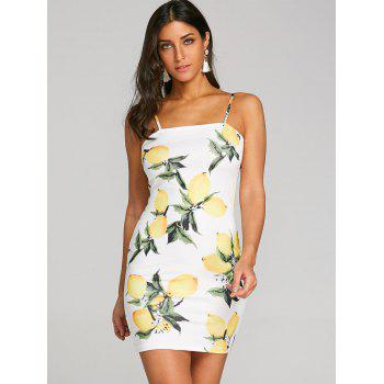 Lemon Print Cami Dress - YELLOW 2XL