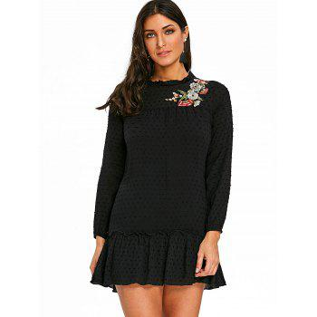 Floral Embroidered Drop Waist Dress - BLACK M