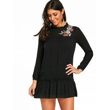 Floral Embroidered Drop Waist Dress - BLACK L