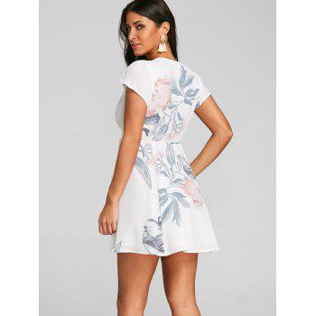 Flower Print Wrap Dress - WHITE L