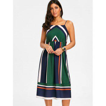 Striped Spaghetti Strap Dress - GREEN L