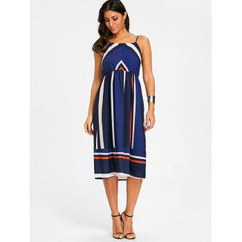 Striped Spaghetti Strap Dress - PURPLISH BLUE 2XL