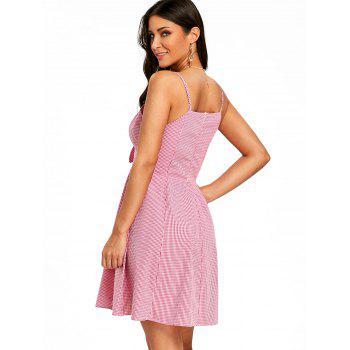 Gingham Print Knot Front Dress - PINK M