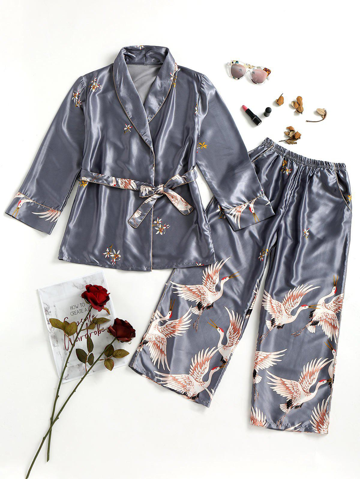 Crane Satin Robe and Sleep Pants - GRAY M