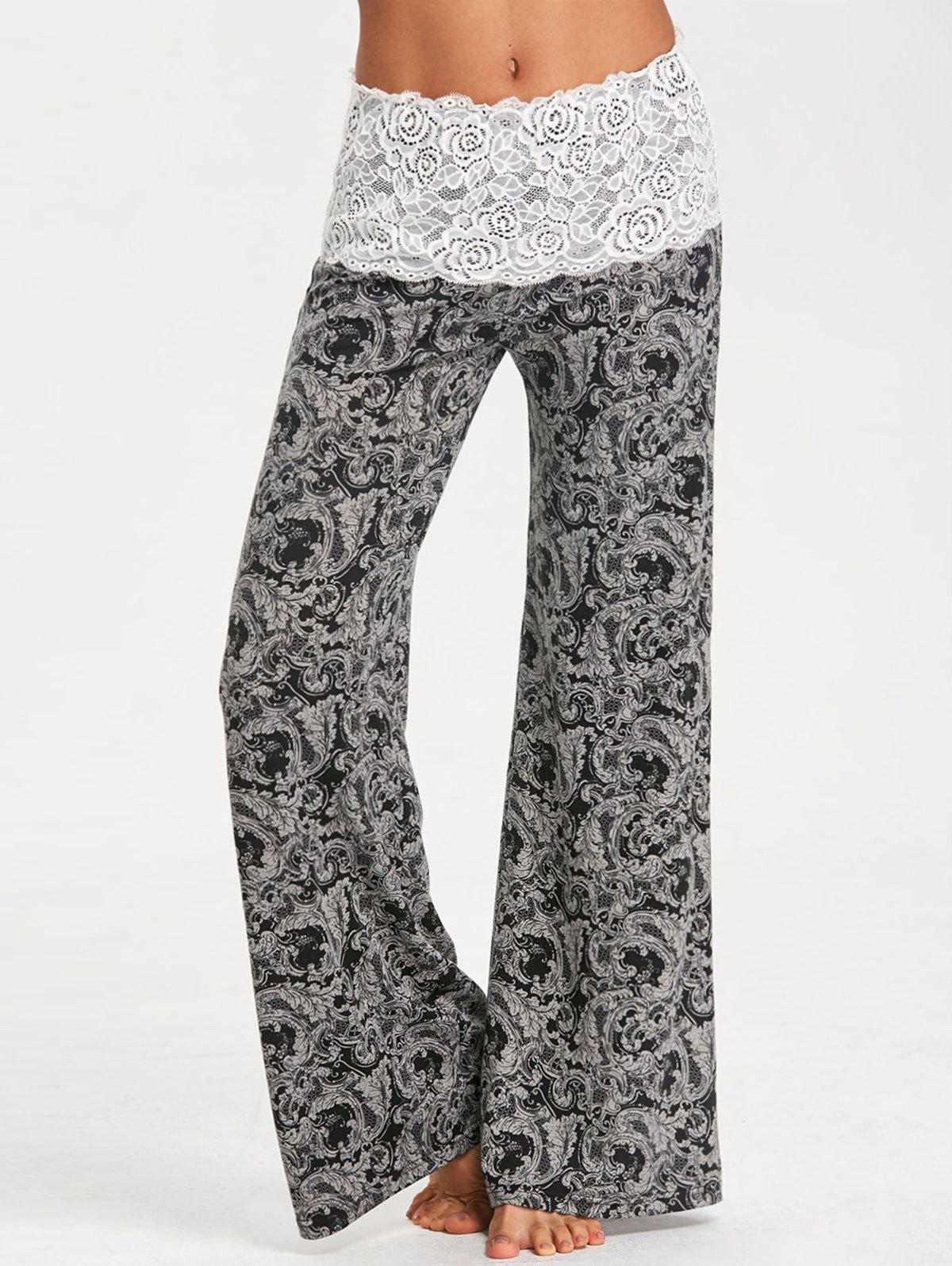 Bandana Floral Lace Waistband Palazzo Pants - WHITE/BLACK XL