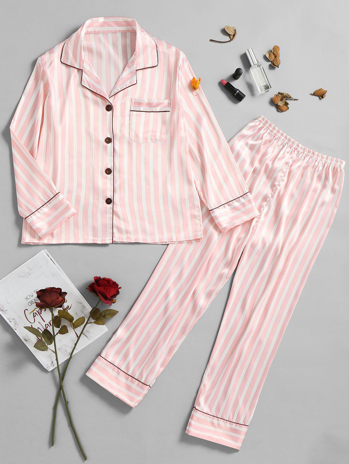 Stripe Printed Pajamas Shirt and Pants - LIGHT PINK M
