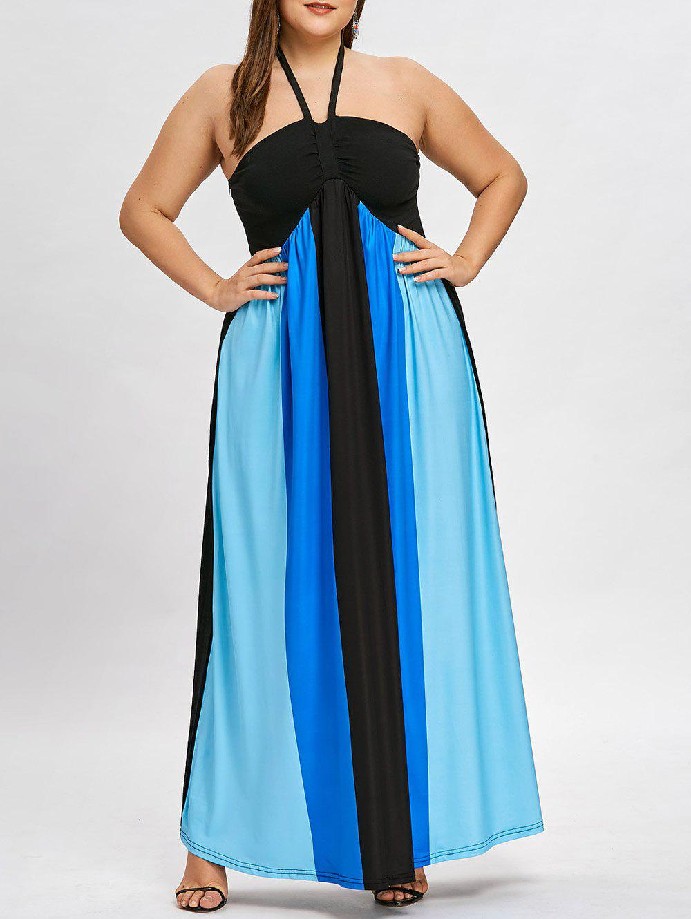 Plus Size Color Block Halter Neck Flowing Dress - BLUE 2XL
