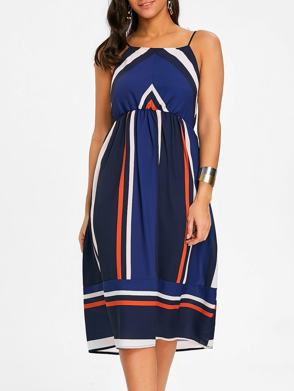 Striped Spaghetti Strap Dress - PURPLISH BLUE S