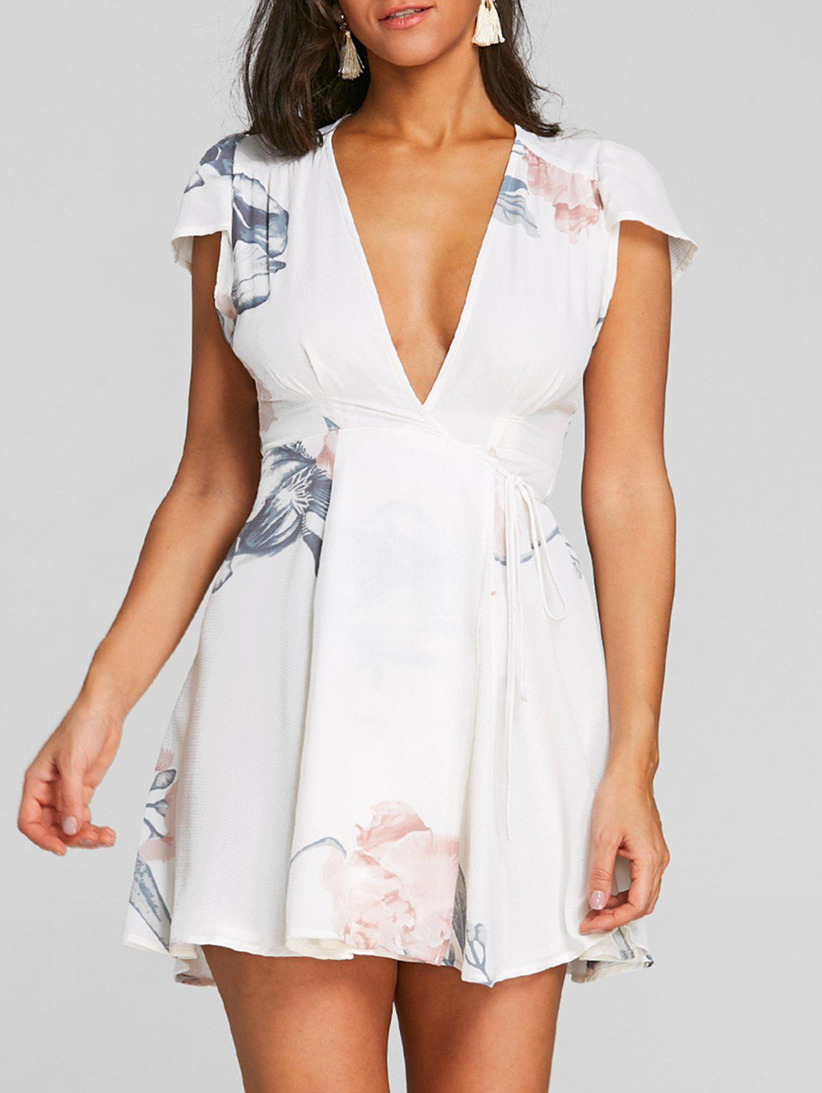 Flower Print Wrap Dress - WHITE S