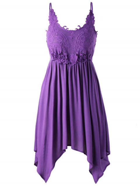 Plus Size Handkerchief Slip Dress - PURPLE XL