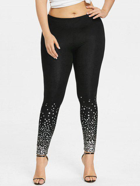 Plus Size Two Tone Stars Print Leggings - BLACK 5XL