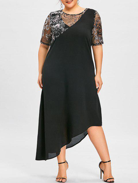 Plus Size Sequined Trim Asymmetric Flowy Dress - BLACK XL