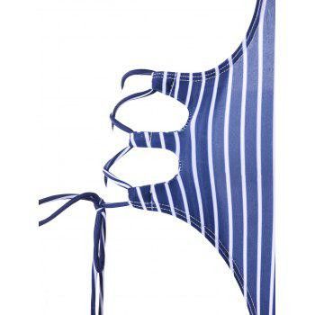 Lace Up Striped One Piece Swimwear - BLUE/WHITE XL