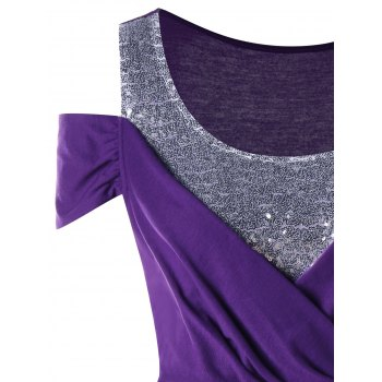Plus Size Open Shoulder Sequins T-shirt - PURPLE XL