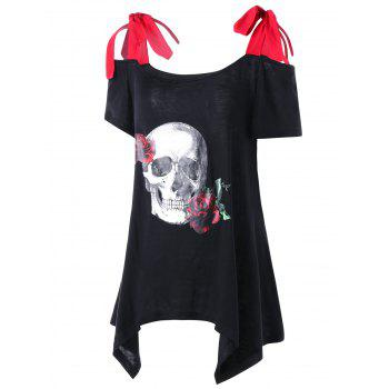 Plus Size Rose Skull Asymmetric T-shirt - BLACK 3XL