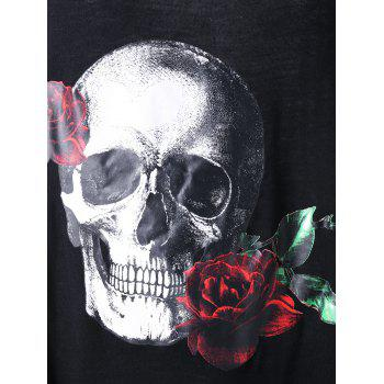 Plus Size Rose Skull Asymmetric T-shirt - BLACK 4XL