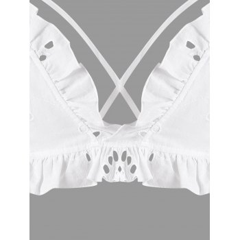 Lace Up Ruffled Strappy Cami Crop Top - WHITE M
