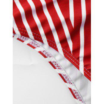 Plus Size Ruffle Striped U Neck Bikini Set - RED STRIPE 2XL