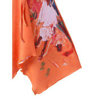 Flared Ruched Abstract Print Tank Top - COLORMIX M