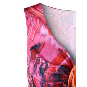 Flared Ruched Abstract Print Tank Top - COLORMIX L