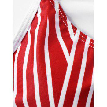 Plus Size Ruffle Striped U Neck Bikini Set - RED STRIPE 4XL