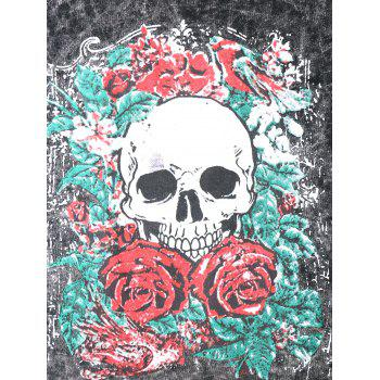 Skull Print Wahsed Slashed Lived in Tee - GRAY XL