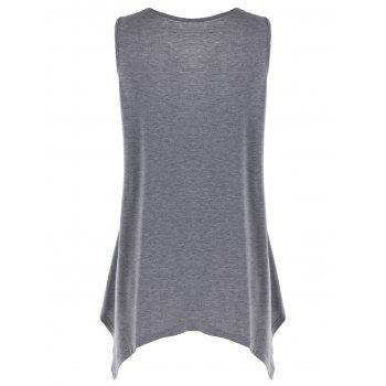 Plus Size Lace Panel Crescent Hem Tank Top - HEATHER GRAY XL
