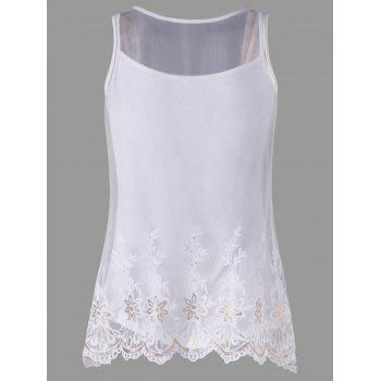 Scalloped Mesh Tank Top Set - WHITE L