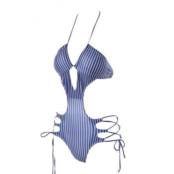 Lace Up Striped One Piece Swimwear - BLUE/WHITE L
