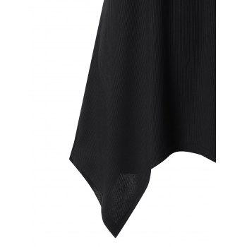 Hollow Out Racerback Crescent Hem Tunic Top - BLACK 2XL
