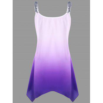 Plus Size Sequins Ombre V-neck Tank Top - PURPLE 5XL
